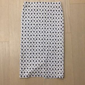 Tight blue and white Zara pencil skirt